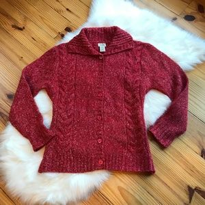L.L. Bean Red Wool High neck Cardigan M